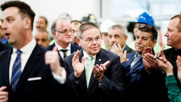 Democratic senator Robert Menendez of New Jersey (centre) could be in for a tough battle. Photograph: Justin Lane/EPA