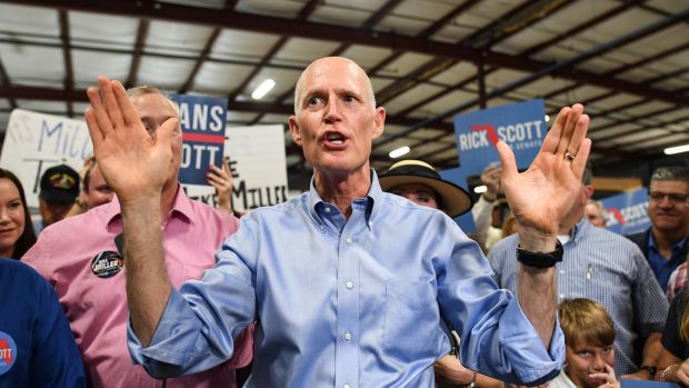 Florida Senate candidate Rick Scott is taking on three-term incumbent Democrat Bill Nelson. Photograph: Jeff J Mitchell/Getty Images