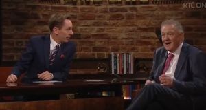 Ryan Tubridy and Peter Casey during last Friday's 'Late Late Show'. Photograph: Screengrab/RTÉ