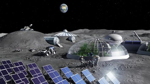 MoonVillage-2018 scene 3-LR: A concept image made for the European Space Agency in 2018 showing an international lunar base project.
