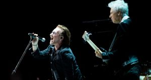 Bono and Adam Clayton on stage... Photograph: Tom Honan/The Irish Times