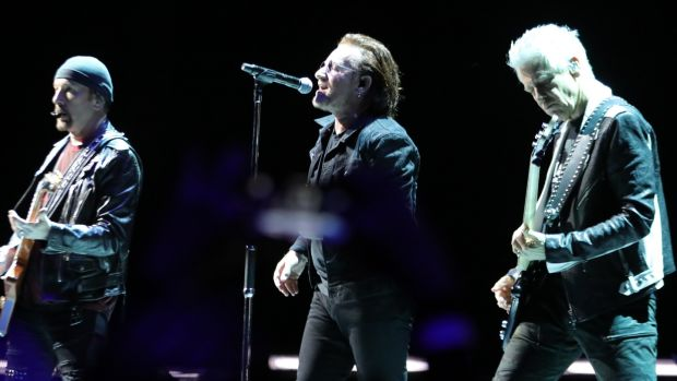 U2 on stage at the 3Arena in Dublin as part of their Experience and Innocence Tour. Photograph: Collins