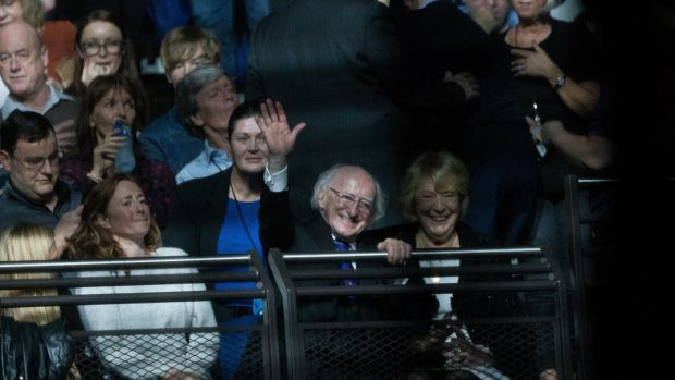 Newly re-elected President Michael D Higgins with his wife Sabina at the U2 concert at 3Arena, Dublin, on Monday night. Photograph: Tom Honan/The Irish Times