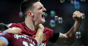 Declan Rice of West Ham United celebrates their win over Burnely. Photo: Marc Atkins/Getty Images
