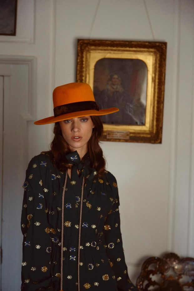 Green lame embroidered dress (€1,195 Peter Pilotto, Brown Thomas), French Mustard fedora with brown velvet trim (€190 Anthony Peto)
