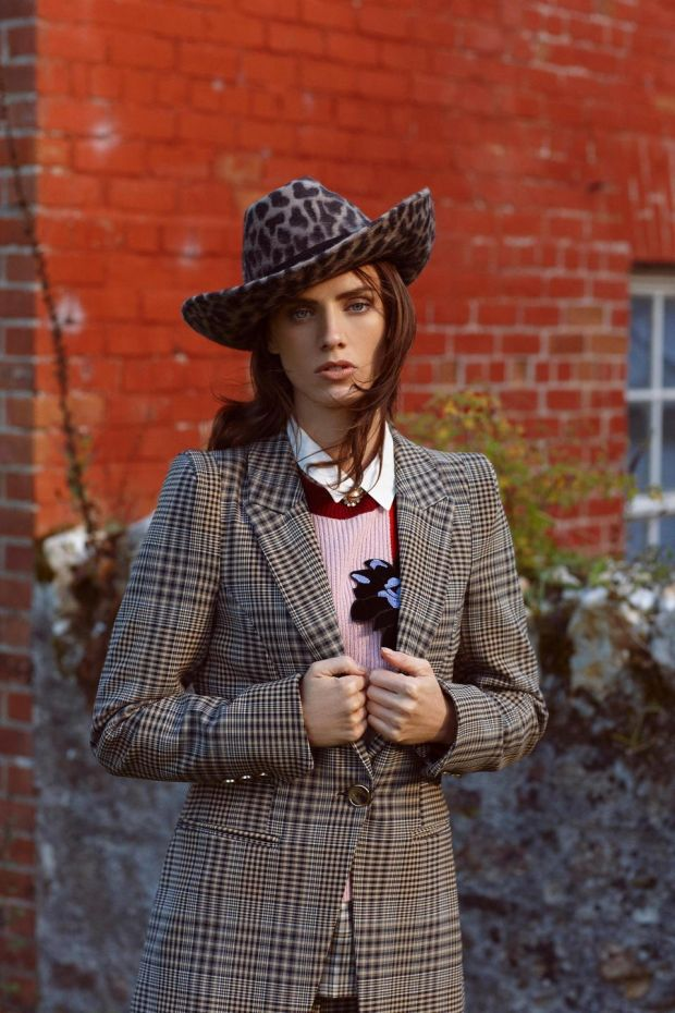 Check jackets (€100 River Island), check top with collar (€43 River Island), jumper (€215 Max Co, Arnotts), leopard print cowboy hat (€180 Anthony Peto)
