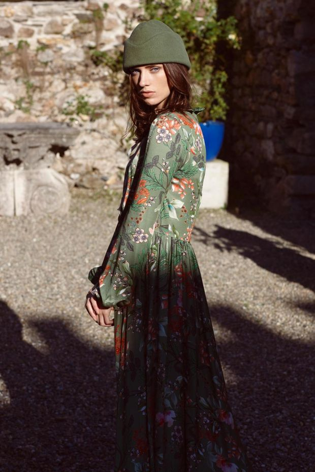 Green floral dress (€695 Kytia Azalea, Costume Boutique), green hat (€160 Anthony Peto)