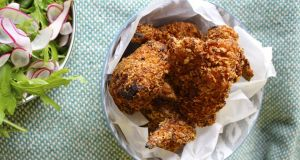 Crunchy crusted chicken. Photograph: Anne-Marie Carroll