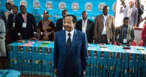 Cameroon's President Paul Biya during voting for last month's election. During his inauguration speech he appealed to separatists to lay down their arms. Photograph: Alexis Huguet/AFP/Getty Images