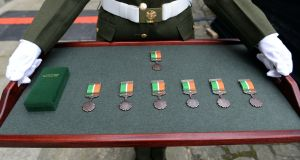 The 1916 centenary commemorative medals which were presented to members of the Defence Forces by President Michael D Higgins, in December 2017. Photograph: Eric Luke / The Irish Times