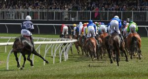 The Cliffsofmoher, left, pulls up lame during the Melbourne Cup at Flemington Racecourse in Melbourne, Australia. Photograph: Andy Brownbill/AP
