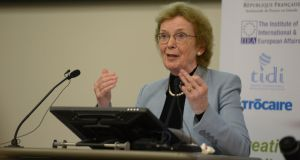 "Mary Robinson said she  did not want to ""say anything that would cause any sort of waves"" while ""very delicate discussions"" were taking place on Brexit. File photograph: Dara Mac Dónaill/The Irish Times"