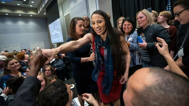 Sharice Davids celebrates in Olathe, Kansas. Photograph: EPA