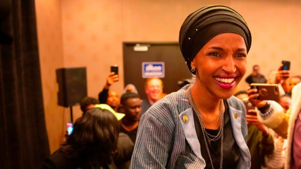 Ilhan Omar arrives for her victory party in Minneapolis. Photograph: Getty Images