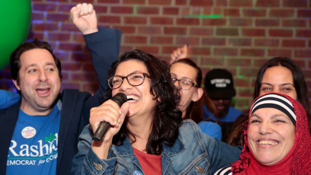 Rashida Tlaib celebrates with her mother at her election night party. Photograph: Reuters