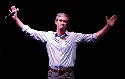 Democratic Senate candidate Beto O'Rourke at his election party at the Southwest University Ballpark in El Paso, Texas. O'Rourke was defeated by Republican Ted Cruz.  Photograph: EPA/LARRY W. SMITH