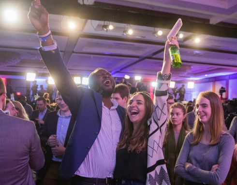 A section of the crowd at the Democratic Election Night event at the Hyatt Regency in Washington, DC. Photograph: EPA/ERIK S. LESSER