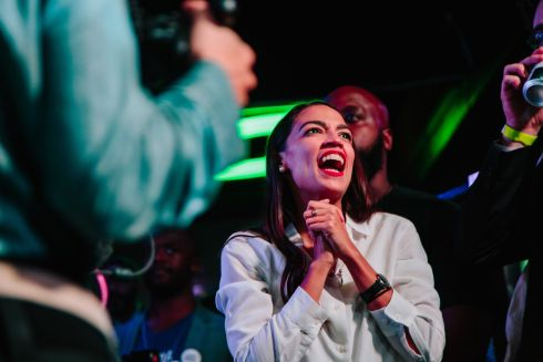 Victorious Democratic congressinal candidate Alexandria Ocasio-Cortez at La Boom Night Club in New York. Photograph: Elizabeth D. Herman/The New York Times