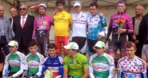 Daniel Stewart, top-right, came third in the dernière étape of the L'Agglo-Tour cycling race in 2015.