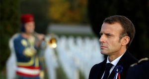 French president Emmanuel Macron   at a ceremony marking the centenary of the end of the first World War at  the Douaumont Ossuary cemetery  near Verdun. Photograph:  Ludovic Marin/AP