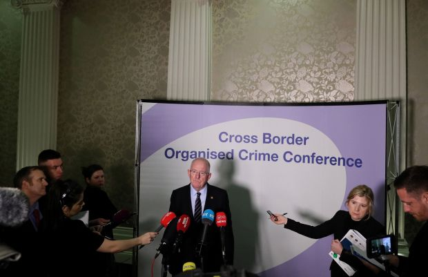 Minister for Justice Charlie Flanaganspeaking to the media during the conference Photograph: Brian Lawless/PA Wire