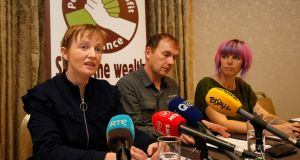 People Before Profit TD Gino Kenny (centre) held a meeting with  parents of children who need access to medicinal cannabis on Wednesday including Vera Twomey (left) and  Callie Blackwell. Photograph Nick Bradshaw/The Irish Times.