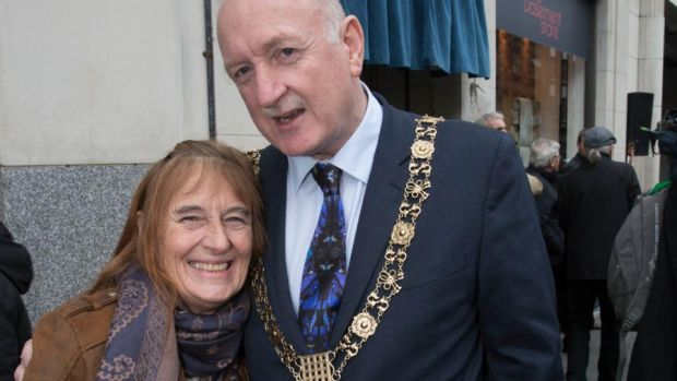 Terrie Colman-Black was at the Beatles Concert in Dublin when she was 14. On Wednesday she joined Lord Mayor of Dublin Nial Ring and many Beatles fans on Middle Abbey Street as a plaque was unveiled to mark 55 years since the Beatles played in Dublin. Photograph: Colm Mahady /Fennells