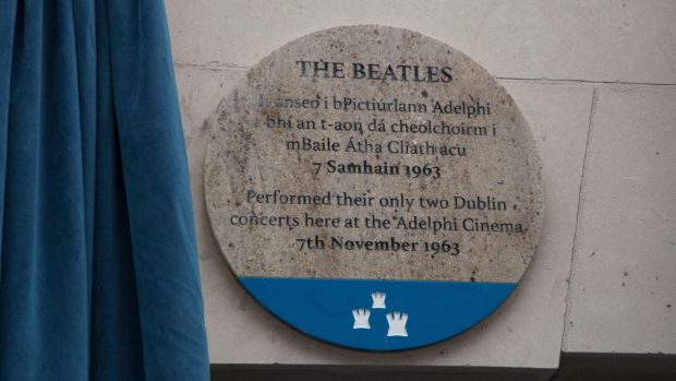 The plaque to mark The Beatles' visit to Dublin 55 years ago. Photograph: Colm Mahady /Fennells