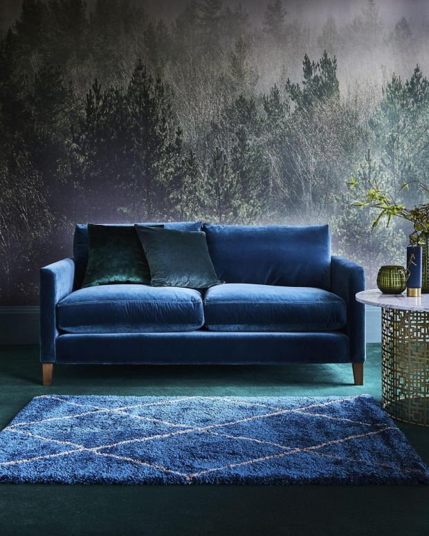 Velour sofa and Noble Diamonds rug from Carpetright
