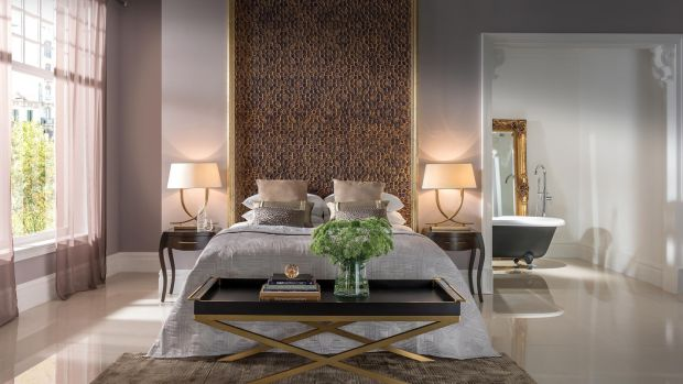 Room at the Elizabeth Hotel, London, which also features a lovely textured wall covering by Lincrusta