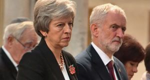 Theresa May and Jeremy Corbyn: both their parties are implying they want to leave the EU in its entirety but might have to stay in the customs union to avoid a hard border in Ireland. Photograph: John Stillwell/AFP/Getty Images