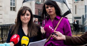 Solicitor Jemma Conlon (left), the woman's lawyer,  and Amnesty International Northern Ireland campaign manager, Grainne Teggart,  outside Belfast High Court on Tuesday.  Photograph: Liam McBurney/PA