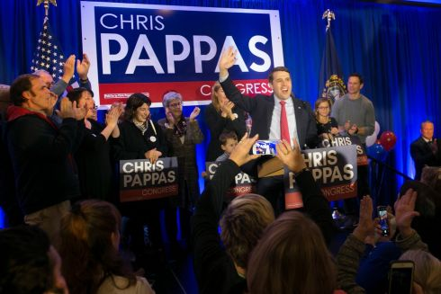 PAPPAS COMING HOME: Democrat Chris Pappas (centre-right) declares victory over his opponent Republican Eddie Edwards, at his election night headquarters at The Puritan Backroom, in Manchester, New Hampshire. Photograph: Katherine Taylor/EPA