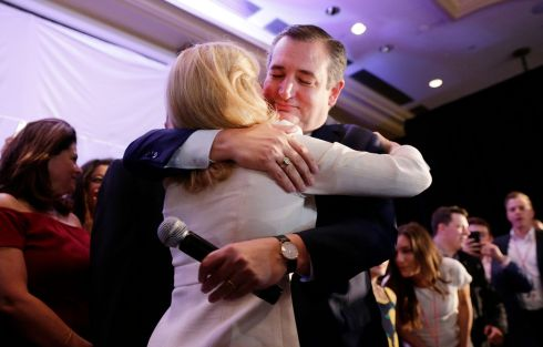 SURVIVAL: Ted Cruz hugs his wife Heidi after declaring victory at their election night headquarters in the 2018 midterm general election at the Hilton Post Oak in Houston, Texas. Cruz defeated challenger Beto O'Rourke in a tight and closely watched race. Photograph: Michael Wyke/EPA