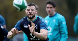 Robbie Henshaw during training at Carton House ahead of Ireland's clash with Argentina. Photograph: Dan Sheridan/Inpho