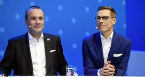 At its party congress in Helsinki, the European People's Party, to which Fine Gael is affiliated, saw a final debate, chaired by Irish MEP Mairead McGuinness, for the nomination between runaway favourite, pragmatic MEP Manfred Weber, the leader of the EPP in the European Parliament (left), and former Finnish PM, Alexander Stubb (right). Photograph:  Heikki Saukkomaa / Lehtikuva / AFP