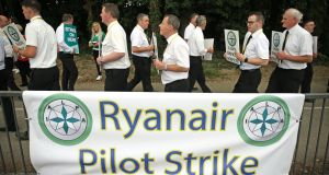 Ryanair pilots picket outside Dublin Airport in July. The airline faces a US legal case taken by shareholders in relationa to its industrial relations woes earlier in the year