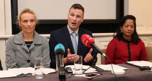 Doctors Kirsten Fuller, Andrew O'Regan and Valerie Morris hold a press conference in Dublin to raise concerns about the Government's plans for a GP-led abortion service. Photograph: Niall Carson/PA Wire