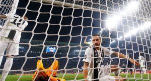 Juventus' Leonardo Bonucci after Manchester United's winner in Turin. Photograph: Stefano Rellandini/Reuters