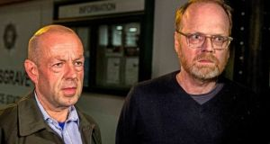 Barry McCaffrey and Trevor Birney of Fine Point Films were arrested in August. Photograph: Liam McBurney/PA Wire