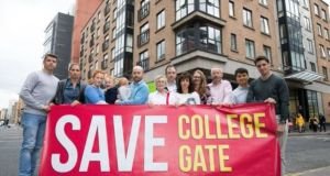 Residents of College Gate Apartments in Townsend Street, Dublin, protesting in September over the planned demolition. Photograph: Tom Honan