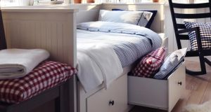 Hemnes (€300):  an off-white day bed with storage drawers underneath