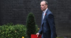 Britain's Secretary of State for Exiting the European Union (Brexit Minister) Dominic Raab arrives a cabinet meeting in central London. Photograph: Facundo Arrizabalaga/EPA