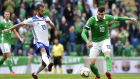 Kyle Lafferty has been recalled to the Northern Ireland squad for the friendly against the Republic of Ireland and the Nations League   game against Austria. Photograph: Stephen Hamilton/Inpho/Presseye