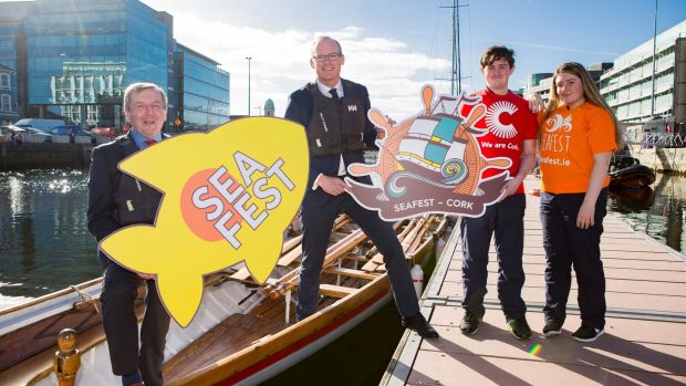 Minister Michael Creed, Tánaiste Hugh Coveney, students Myles Ó Raghallaigh and Cáit Ní Drisceoil at SeaFest launch scheduled for Cork over the next three years. Photograph: Michael O'Sullivan/OSM