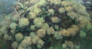 Maeve McCarthy, In the garden, oil on linen, Molesworth Gallery