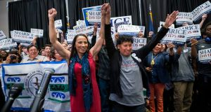 Democratic winning candidate from Kansas Sharice Davids  and her mother Crystal: her  win in Kansas is a national headline. Photograph: Jim Lo Scalzo/EPA