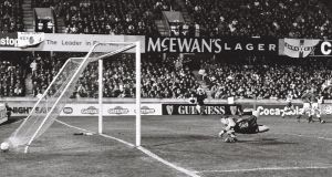 Northern Ireland goalkeeper Tommy Wright is beaten by Alan McLoughlin's shot  during the World Cup qualifier at Windsor Park on Wednesday, November 17th 1993. Photograph:   Joe St Leger