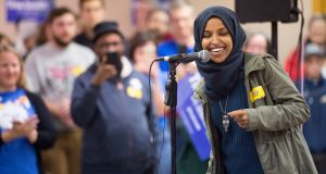Democrat Ilhan Omar, an immigrant born in a Kenyan-Somali refugee camp, was elected. Photograph: Craig Lassig