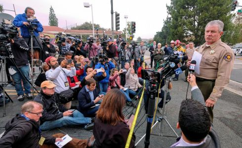 THOUSAND OAKS SHOOTING: Ventura County sheriff Geoff Dean speaks during a news conference after a mass shooting at a bar in Thousand Oaks, US. Photograph: Ringo Chiu/Reuters